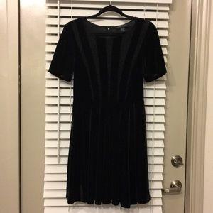 Velvet and Lace Black Skater Dress